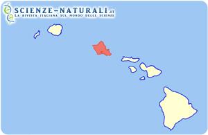 Hawaii. Posizione dell'Isola di Ohau (in rosa)