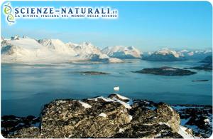 Scioglimento del ghiaccio sulle coste della Groenlandia.