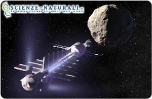 Raffigurazione di un trattore gravitazionale mentre cerca di cambiare la traiettoria di un asteroide (fonte NASA)