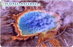 Gli Archei (Archaea) o archeobatteri sono stati trovati in ambienti estremi, come ad esempio sorgenti termali vulcaniche simili a quelle in figura, del Gran Prismatic Spring nel Parco Nazionale di Yellowstone (Fonte: Wikimedia)