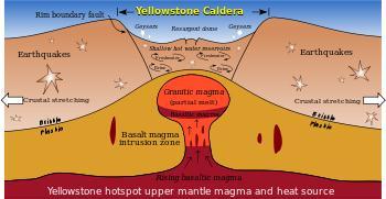 """Schematizzazione di un Hotspot o punto caldo, una piccola zona della superficie terrestre interessata da una anomala risalita del mantello, che presenta attività vulcanica da lungo tempo (es. Hawaii e Islanda)  E' caratteristica la collocazione nel mezzo di una placca anziché ai bordi, come ci si aspetterebbe dalla tettonica a zolle. La causa probabile di formazione risiede nella convezione degli strati superiori del mantello, i cosiddetti """"pennacchi"""", del diametro di 100-250 Km, che risalirebbero dagli strati più profondi a contatto con il nucleo terrestre."""