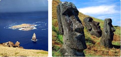 A sinistra: l'isolotto di Motu Nui. A destra: tre moai, di cui uno abbattuto, probabilmente durante il passaggio dal culto delle statue a quello dell'Uomo-uccello.