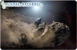 Ricostruzione di fantasia di un impatto di un asteroide. Gli scienziati ritengono che un gigantesco asteroide della fascia compresa tra Marte e Giove sia uscito dall'orbita e abbia colpito la Terra, provocando l'estinzione dei dinosauri (fonte: NASA)