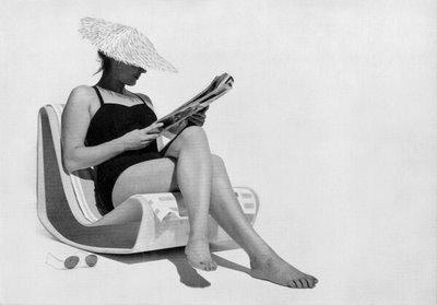 Publicità della sedia da spiaggia disegnata da Willy Guhl, prodotta dalla Eternit