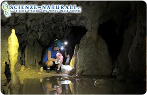 Borneo Malese, grotte di Gunung Mulu. La ricercatrice Stacy Carolin, ripresa durante il prelevamento dei campioni di stalagmiti (fonte: Caving News)