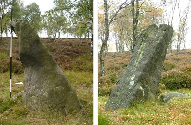 L'enigmatico monumento di Gardom's Edge visto da Est (figura a sinistra) e da Nord-Ovest (figura a destra).