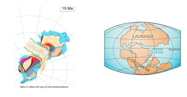 A sinistra, immagini da un video.I poligoni colorati rappresentano unità geologiche diverse, mappate e dedotte dai geologi nel corso di molti anni. Le relative unità geologiche si sarebbero formate prima della separazione dei continenti. Altre ricostruzioni non tengono invece conto dei criteri geologici  (fonte: University of Royal Holloway, Londra) A destra, rappresentazione classica del frazionamento del supercontinente, stimato attorno ai 200 milioni di anni fa che avrebbe compreso anche il Sudamerica e l'Africa (fonte: Wikipedia)