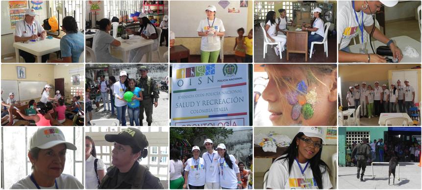 Alcuni dei servizi offerti nel corso della Giornata Salute e Ricreazione OISN-Policia Nacional Colombiana. Visite mediche, odontoiatriche, lezioni di igiene dentale, consulenza giuridica, Show Canino e molto altro ancora..