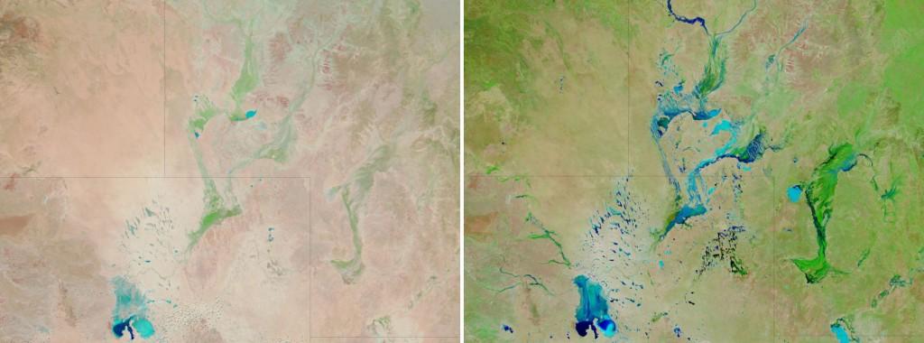 Veduta delle intense precipitazioni che trasformarono il paesaggio dell'Australia negli anni 2010-2011, come mostrano le due immagini satellitari della NASA, nelle pianure alluvionali del sud-ovest del Queensland. La prima immagine è del settembre 2009, la seconda del marzo 2011, dopo che le abbondanti piogge non erano riuscite a riversarsi nell'oceano, provocando di fatto un generale abbassamento di livello del mare, in controtendenza con l'innalzamento dovuto al riscaldamento globale. (fonte: satellite Aqua della NASA)