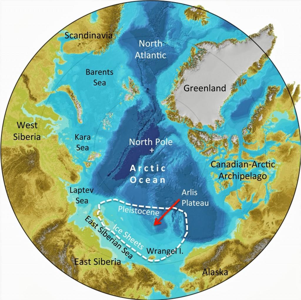 Mappa della regione artica, tra cui la posizione dell'antico strato di ghiaccio (fonte: Frank Niessen / IBCAO)