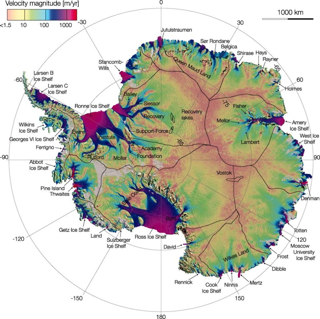 Antartide. Nella parte occidentale si possono osservare i ghiacciai  Pine Islands e Thwaites (credit: NASA)