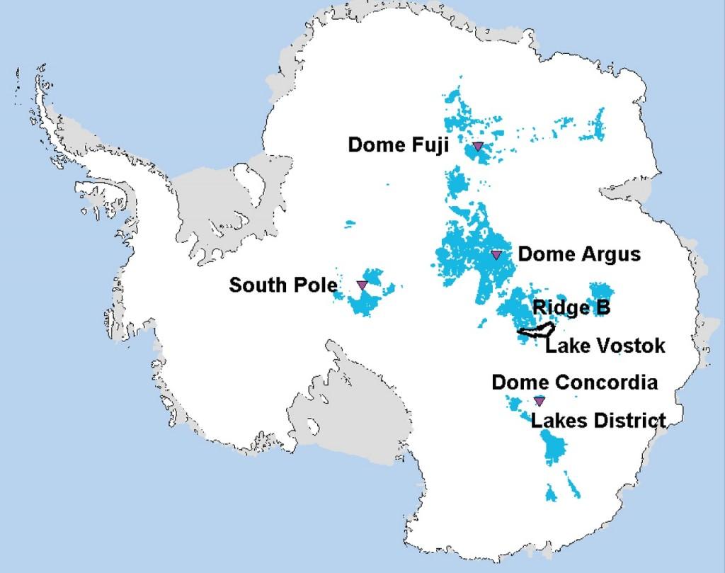 Località dell'Antartide da cui potrebbero essere estratte                                            carote di ghiaccio 'fossile' di 1,5 milioni di anni                                           (fonte: Van Liefferinge e Pattyn / ScienceDaily)