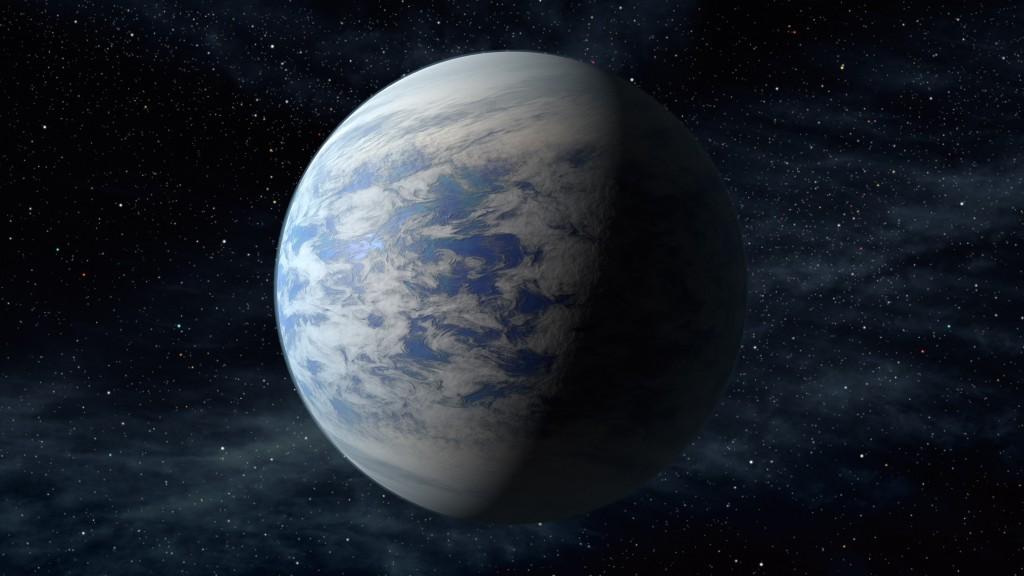 Raffigurazione di Kepler-69c, un pianeta di dimensioni da super-Terra,                       in una parte dell'Universo abitabile come il nostro sistema solare,                         a circa 2700 anni luce dalla Terra nella costellazione del Cigno                                               (credit: NASA / JPL-Caltech)