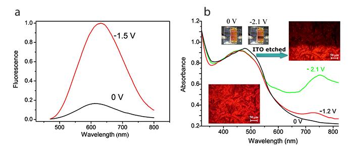 Figura 1. Risposta elettrofluorocromica (a) ed elettrocromica (b) dei tienoviologeni liquido-cristallini.