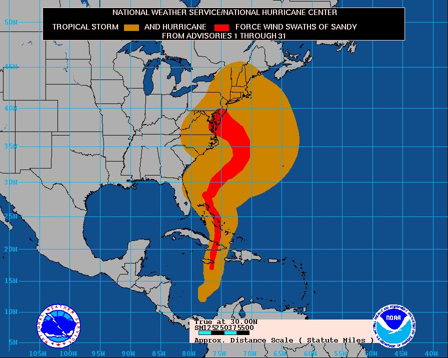 Il percorso dell'uragano Sandy (Wikipedia)