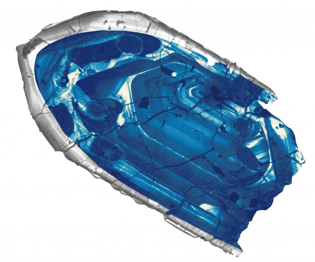 Immagine di microscopio a falsi colori di uno zircone con 4 miliardi di anni. Di: John Valley.