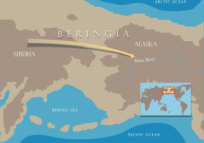 I primi abitatori del continente americano giunsero probabilmente dall'Asia Nord-orientale attraverso il ponte di terra emergente dal mare, che univa i due continenti durante l'ultima glaciazione (credit: Julie McMahon)