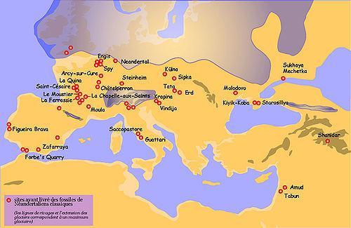 Siti di ritrovamento di fossili neanderthaliani. In viola il limite del ghiacciaio (Wikipedia).