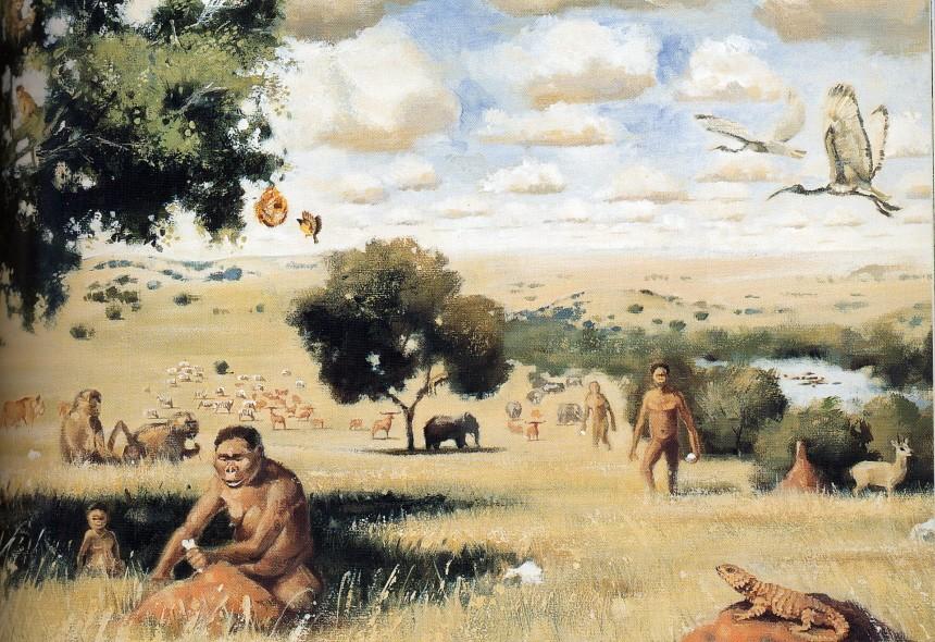 Ipotetica vita degli ominidi nella savana.