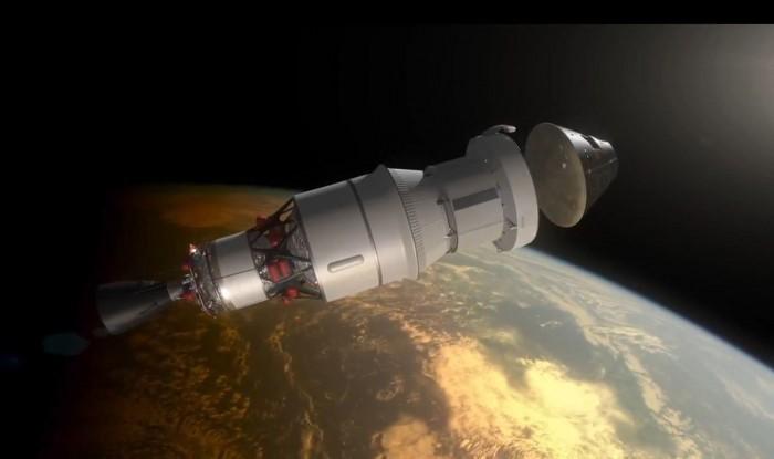 Orion al momento del distacco dal propulsore SLS  per il rientro in atmosfera. (Fonte NASA)