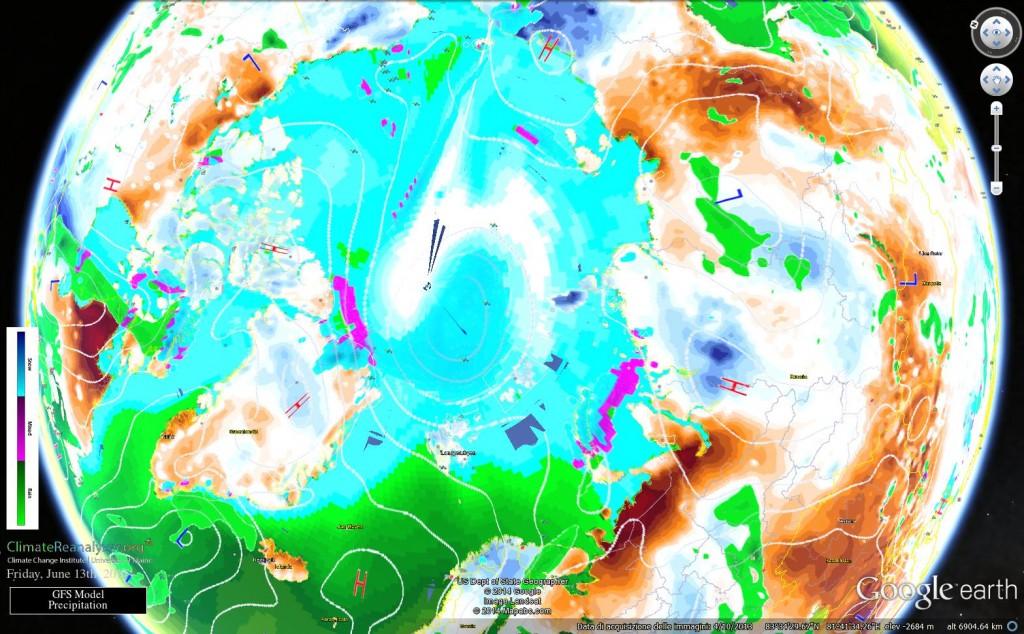 Regione polare artica vista dal satellite
