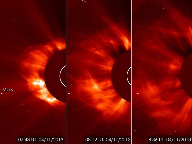 Il Solar Heliospheric Observatory (SOHO) ha catturato queste immagini di espulsione di massa coronale (flare). Sulla sinistra è visibile Marte che non dispone di sufficiente atmosfera e di campi magnetici protettivi come il nostro pianeta. Fonte ESA/NASA/SOHO/GSF