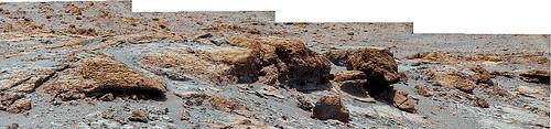 Foto composta del suolo marziano scattata da Curiosity, Rover della Nasa inviato nel 2012.La granulometria del terreno fine comporta problemi di asfissia e ristagno idrico. Fonte Nasa/Jpl
