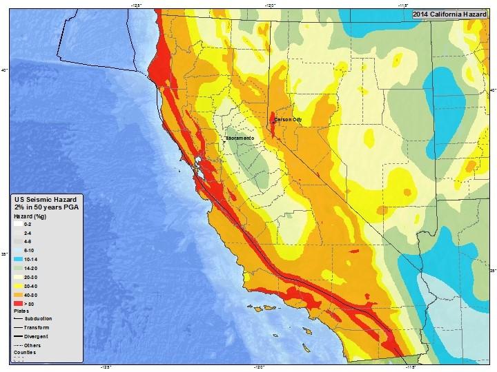 Rischio sismico. Fonte USGS