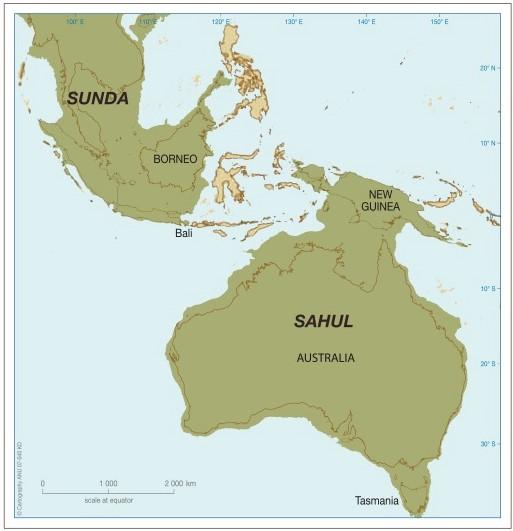 Con il termine Sahul veniva definito il blocco unico di terre emerse, non separatoda tratti di mare, che 18mila anni fa comprendeva, oltre all'Australia, la Nuova Guinea a nord, l'Isola di Timor a nord-ovest e la Tasmania a sud, evidenziate dal tratto rosso nella raffigurazione. (fonte: Wikipedia)